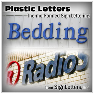 Formed plastic sign letters installed on front of building