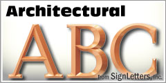 Architectural Injection Molded Plastic Sign Letters
